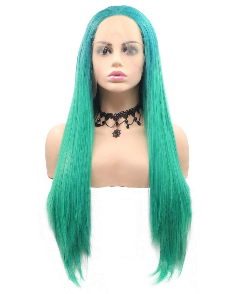 Mermaid Wigs Ombre  Roots Sapphire Blue/Sea Blue Green Natural Straight Lace Front Wigs with Baby Hair Long Women Wigs Cosplay