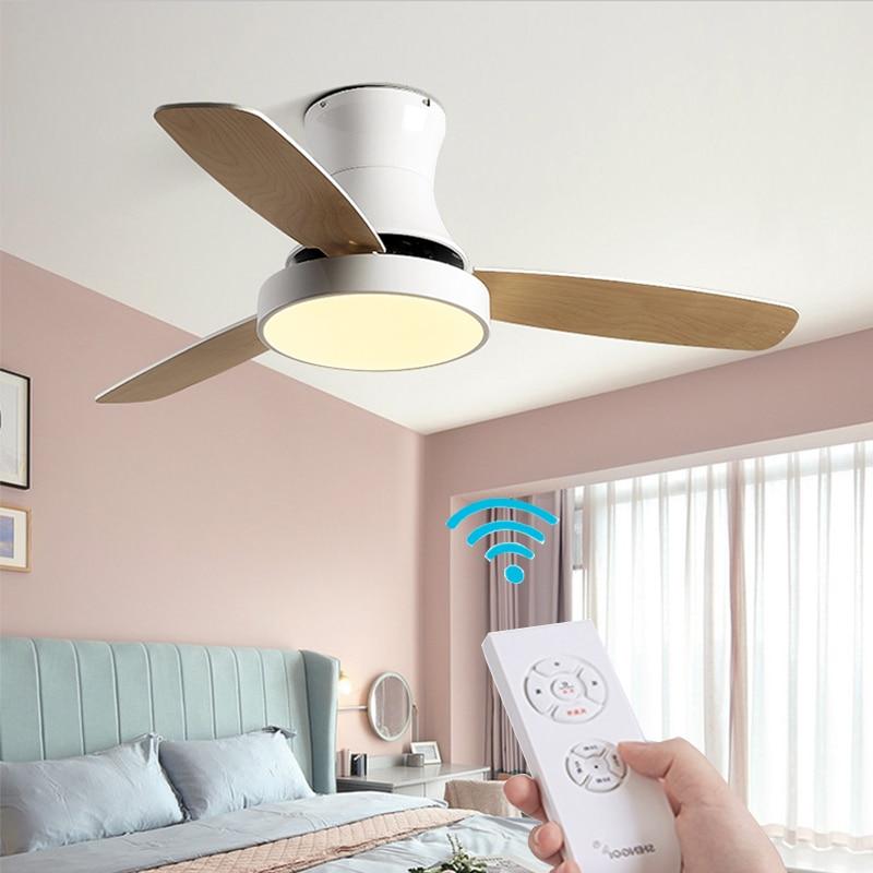 XIUXIU الحديثة سقف معلق مروحة بمصباح مع مصباح ليد والتحكم عن بعد الطعام غرفة المعيشة غرفة نوم المطبخ الخشب المشجعين الصامت