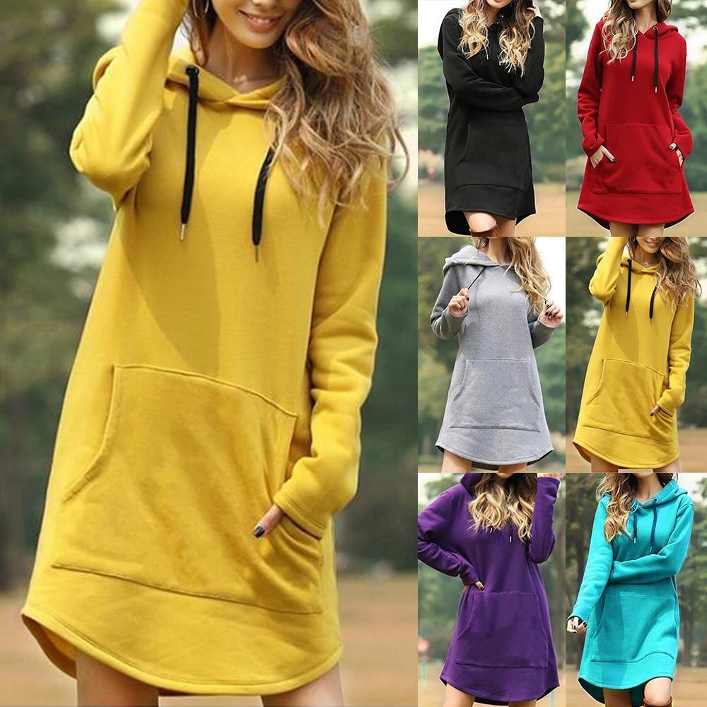 Новинка, женское платье с капюшоном, Повседневный пуловер с карманами и длинным рукавом, свитшоты, женская модная одежда с капюшоном на осень и зиму, Прямая поставка