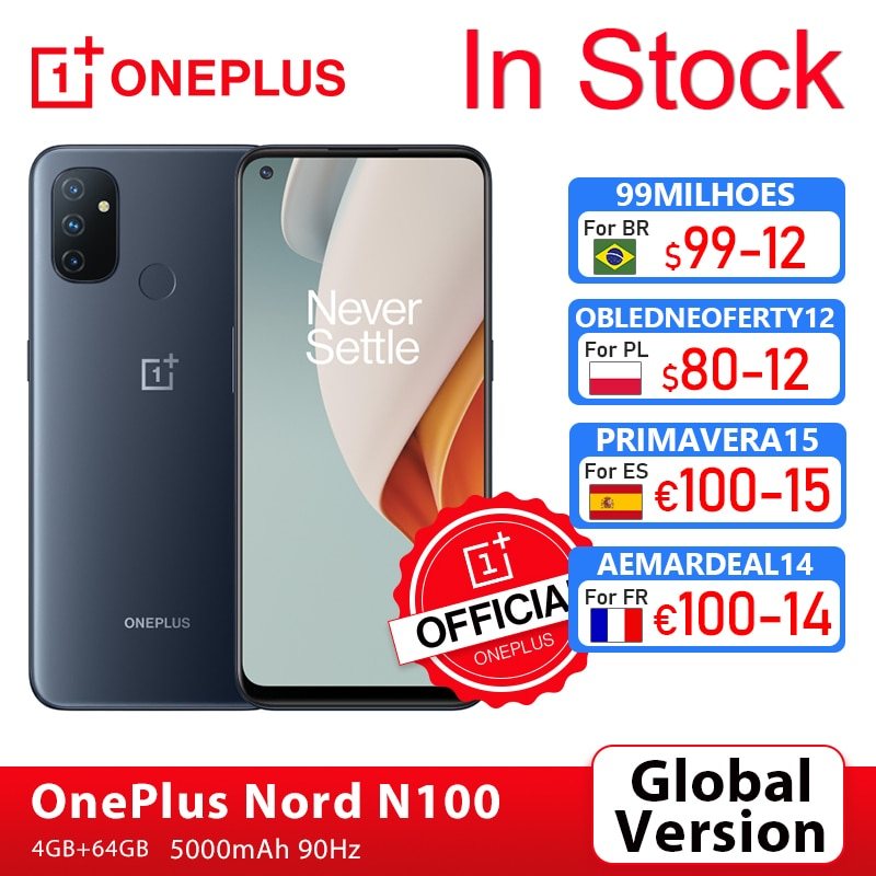 Global Version OnePlus Nord N100 4GB 64GB Smartphone Snapdragon 460 90Hz 6.52' Screen 13MP Triple 5000mAh OnePlus Official Store