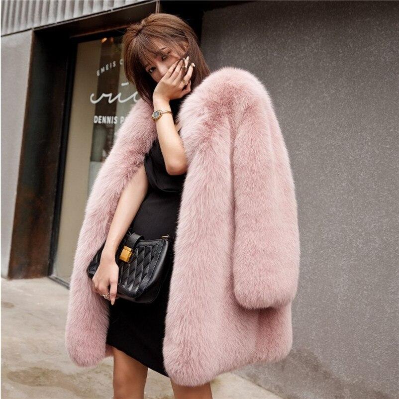 جديد ريال فوكس الفراء معطف المرأة شتاء طويل منفوش الوردي الفراء سترة أبلى الفاخرة معطف سميكة الدافئة في الهواء الطلق ارتداء C1