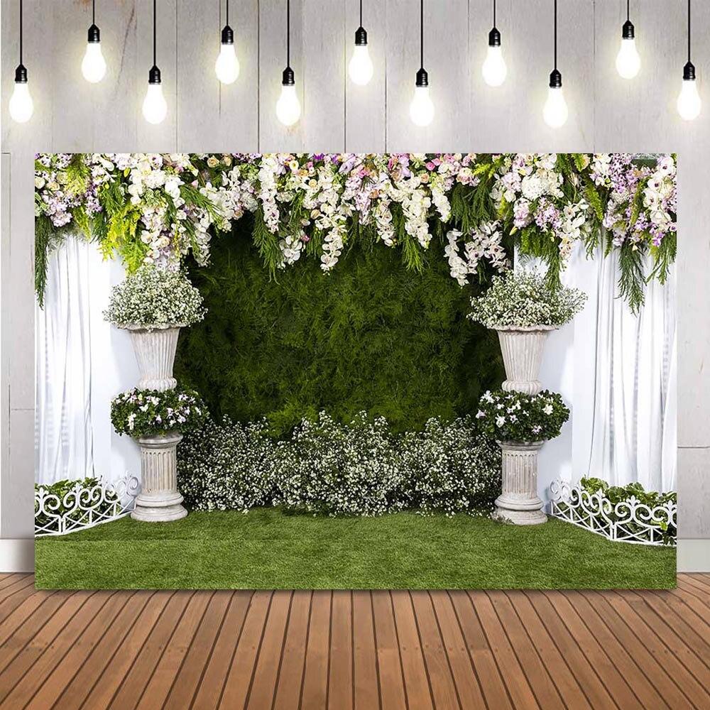 Fondo de ducha nupcial para fotografía fondo de hierba verde de boda...