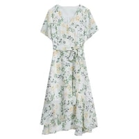 2021 floral floral dress for women summer 2020 high waist over the knee long skirt v neck shirtdress dresses sexy party mujer
