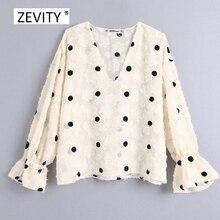 Kobiety w stylu vintage v neck kropki haft wygodna bluzka tassel tekstury bluza koszule wypoczynek kobiet bluzka blusas topy LS6003
