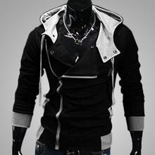 Men Side Zipper Pocket Drawstring Long Sleeve Hooded Sweatshirt Jacket Coat