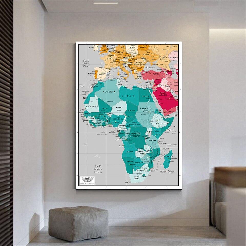 42% 2A59см Африка карта маленький плакат для путешествия подарок стена декор холст живопись гостиная комната дом украшение школа принадлежности