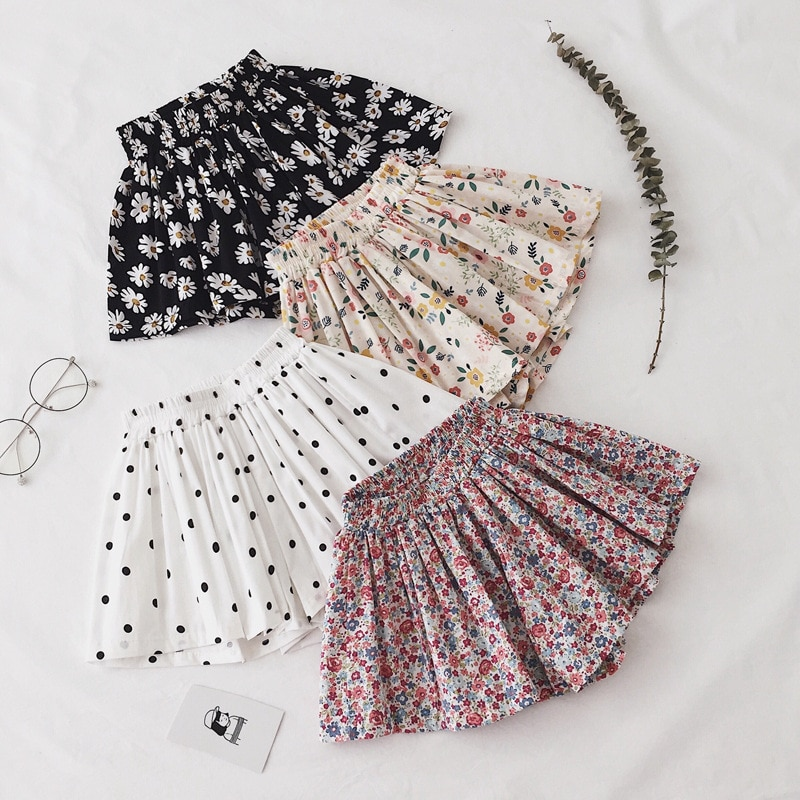 Girl's TuTu Skirt Shorts Lovely Summer  Foreign Style Thin Cotton Wide Leg Pants Baby Small Flower Daisy Kid  Clothing