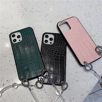 luxury fashion transparent chain female soft case for iphone 11 12 pro max 7 8 plus xr x xs 2020 pu leather phone cover fundas