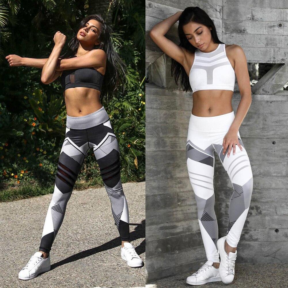 Women Quick Dry Sport Fitness Leggins Geometric Printed Sports Pants Yoga Pants Leggings Slim Tights Trousers For Women S-XXXL
