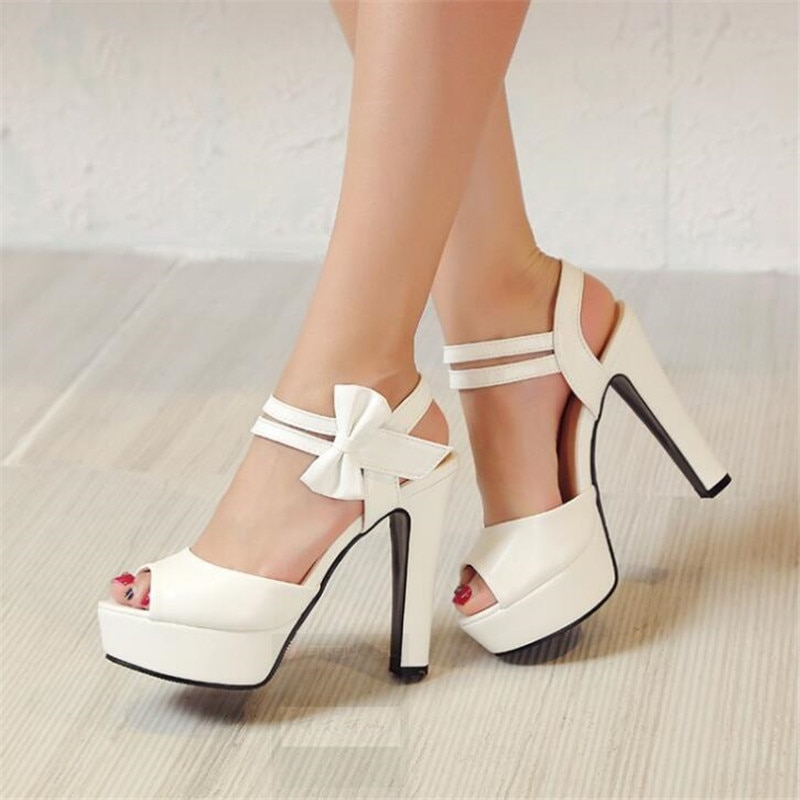 Sandals female summer 2017 new high-heeled fish mouth shoes bow sexy rough with waterproof platform