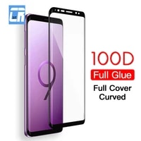 2 Buah 100D Kaca Tempered Pelindung Lengkung Penutup Lem Penuh untuk Samsung Galaxy S20 S10 S9 S8 Note 20 8 9 10 Plus Pelindung Layar