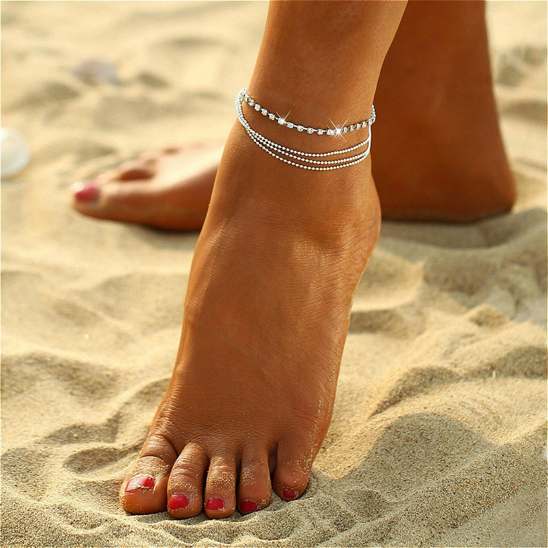 Hot Sale Gold Silver Color Style Fashion Anklet Bracelet on The Leg 2020 New Summer Beach Foot Jewelry