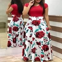 plus size womens summer print stitching flower long banquet dress 2021 bodycon dress elegant sexy woman super long dress