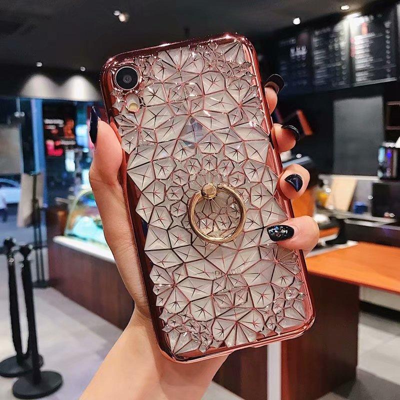Funda brillante con flores brillantes para iPhone XS Max XR X 7 8 6 6S para Samsung S10 lite s9 S8 J4 J6 más Note9 A30 A50 A70 A7Case