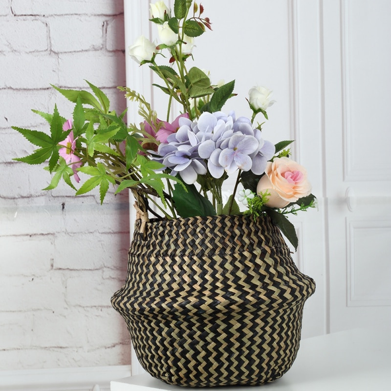 Cestas plegables de mimbre de ratán... cestas de jardín... maceta de flores...
