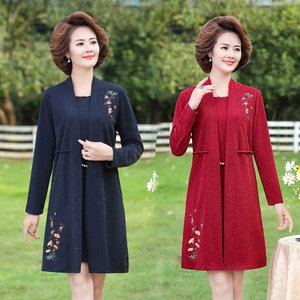Oriental Style Women  fake two  Pieces Dresses Blue Red Flower Knee Length Cardiagn Long sleeve Elegant Dress Woman Spring