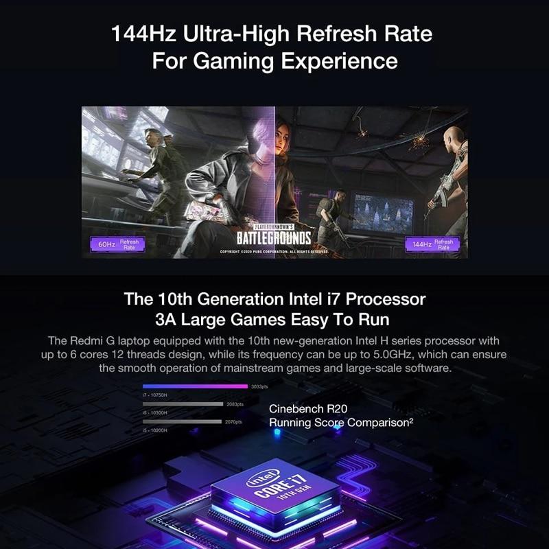 Xiaomi Mi Redmi G Gaming Laptop 16.1 Inch i7-10750H / i5-10300H Game Notebook GTX1650Ti 16GB DDR4 512GB SSD Computer PC 100%sRGB