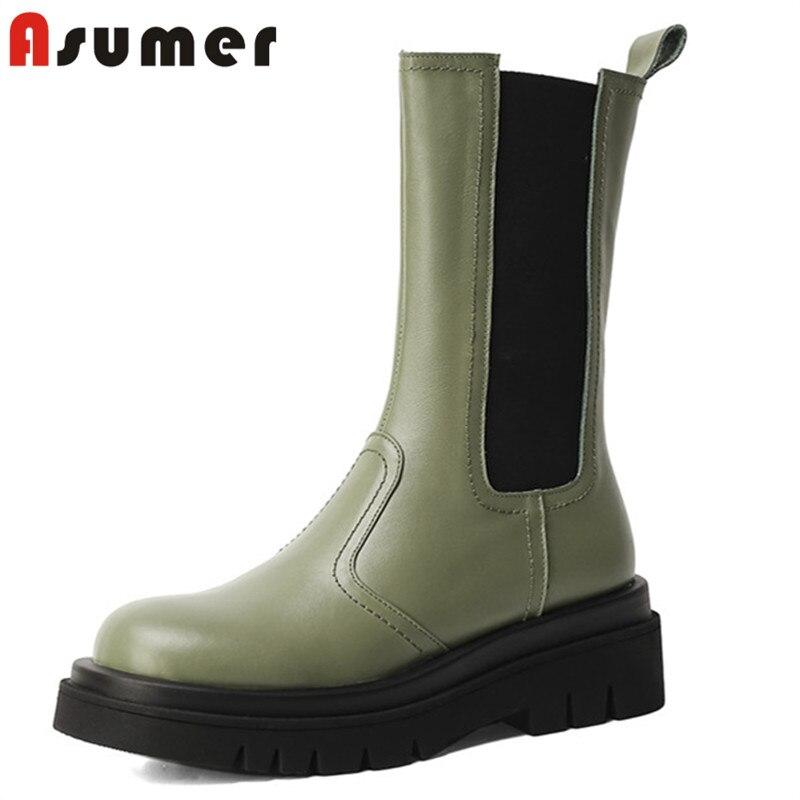 Asumer 2022 جديد وصول تشيلسي أحذية امرأة أعلى جودة حقيقية أحذية من الجلد موضة عادية سميكة أسفل النساء حذاء من الجلد