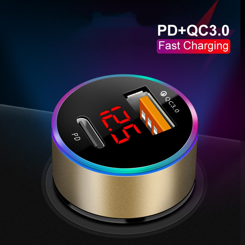 USB C PD Car Charger For iPhone 12 11 Pro Xiaomi 9C 9A Samsung S7 S8 S9 S10 S20 QC4.0 QC3.0 Type C C