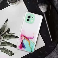 phone case for xiaomi mi 11 lite clear watercolor painting marble soft tpu back cover for xiaomi mi 11 ultra funda coque capa