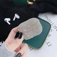 luxury crystal earphone case for protective case glitter for bling hard shell air pods headphone cover