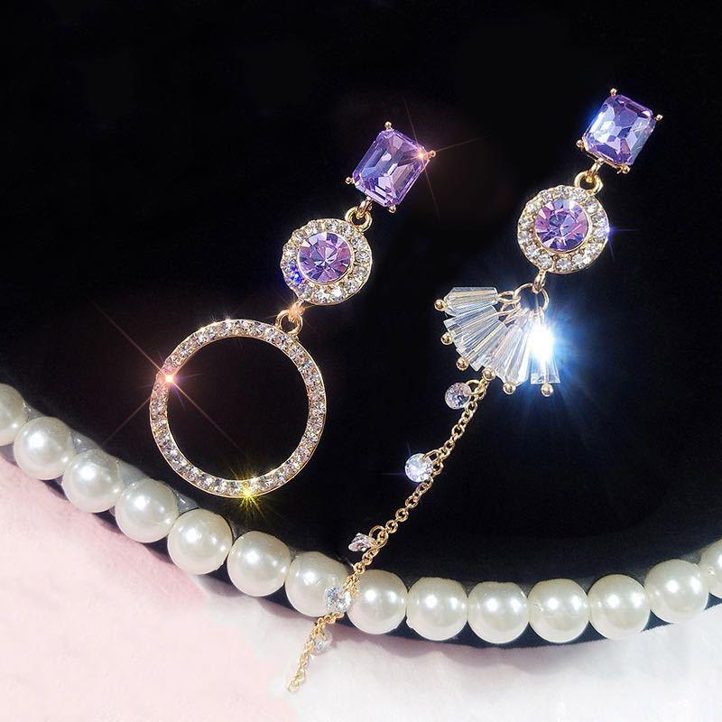 Серьги-кольца женские серебряные Асимметричные с бриллиантами