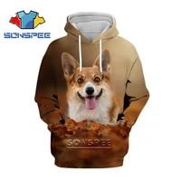 sonspee new animal hoodie 3d print corgi cute hoodies men women movement sweater oversize hip hop fashion harajuku hooded jacket