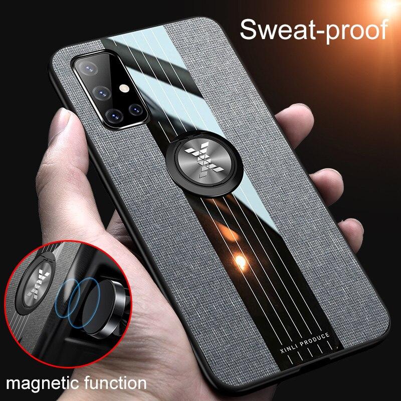 Carcasa de armadura de cuero resistente para Samsung Galaxy A71, soporte magnético para coche, funda de anillo para Galaxy A51 SM A515F A717F A 51 71, Coque