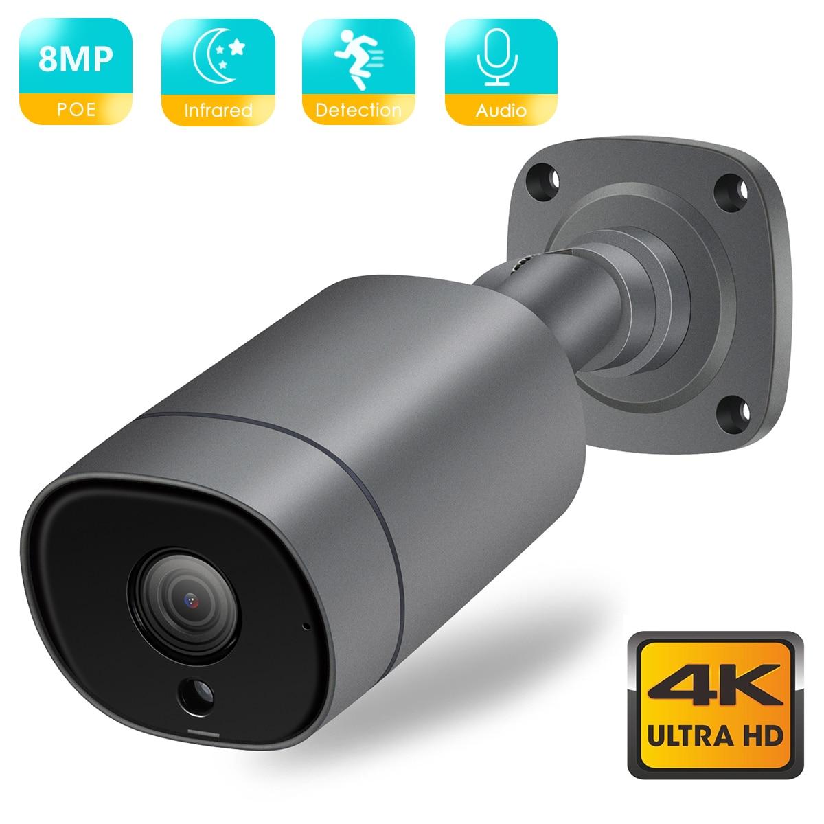 BSDER 4K 8MP IP Camera 4MP Ultra HD POE Audio Motion Detection Alert Bullet Outdoor Video Surveillance Camera IR Night Vision