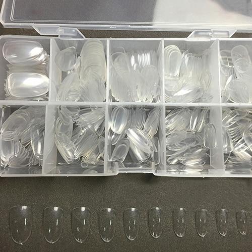 500Pcs Clear Oval Full Cover False Nails DIY Nail Art Transparent Fake Tips Quick Building Mold Finger Extension