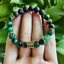 8mm Natural Malachite Bracelets for Women Men Gold Silver Black Metal Accessories Bracelet Volcanic