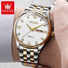 OLEVS Fashion Men's Watches 2021 Luxury Stainless Steel Man Watch Calendar Week Display Luminous Cas