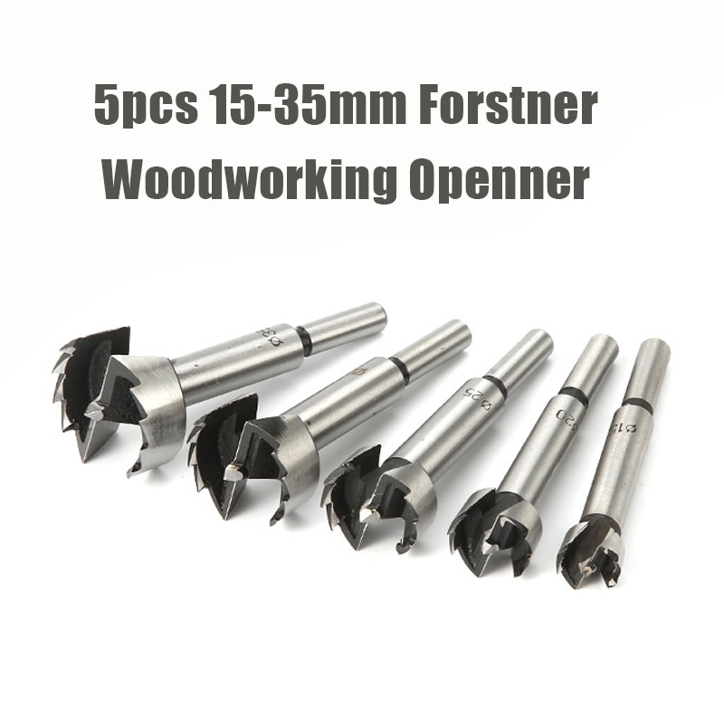 5PCS/Set 15/20/25/30/35mm Multi-tooth Forstner Boring Drill Bits Kit Woodworking Self Centering Hole Saw Wood Cutter Tools Set