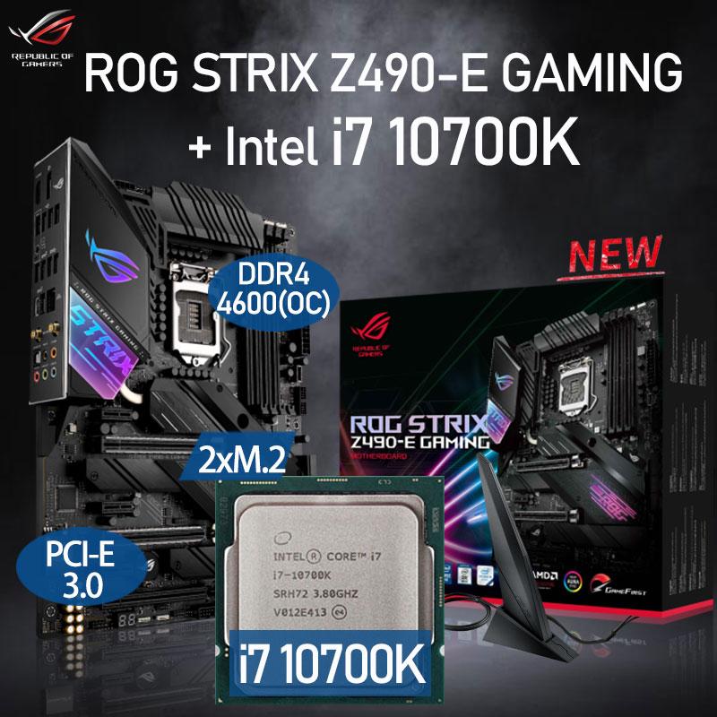 Review LGA 1200 Asus ROG STRIX Z490-E GAMING Motherboard Set + Intel Core i7 10700K Combo DDR4 128GB PCI-E 3.0 M.2 Intel Z490 Placa-Mãe