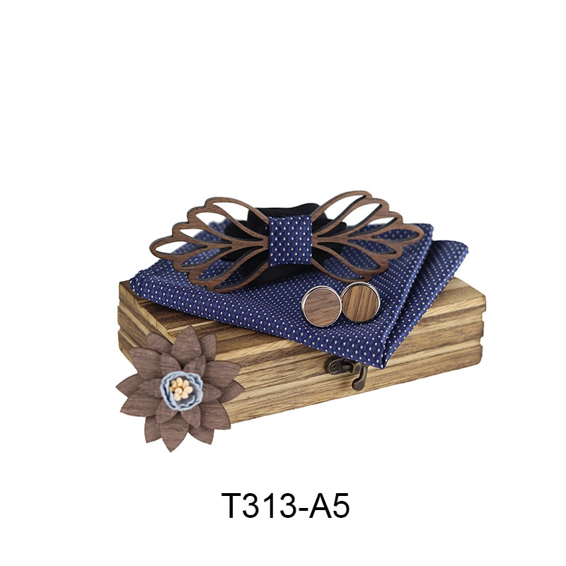 New Design Wooden Hollow Wood Bow Ties Bowtie With Pocket Square Cufflinks Brooch For Men Christmas Gift Set With Box Ties
