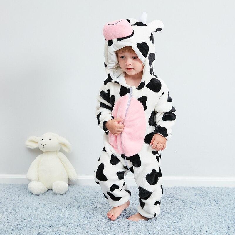 Ropa de bebé Kigurumis, mono de cuerpo completo bonito de vaca Animal, ropa de invierno caliente para bebés, niños y niñas Atuendo para, disfraz de Cosplay
