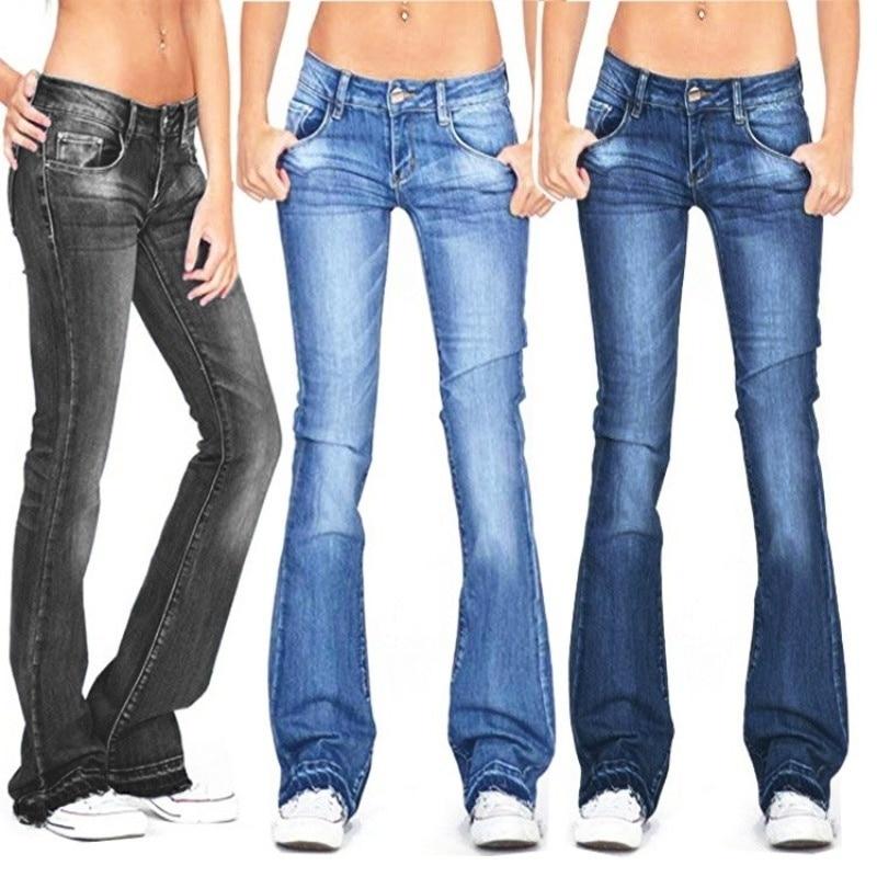 Осень 2021, черные расклешенные джинсы, женские повседневные винтажные узкие джинсы с низкой посадкой, джинсы для мам, корейские облегающие д...