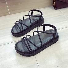 Sandals women's 2020 summer new Korean version thick bottom thin belt cross sandals comfortable and versatile Roman shoes women