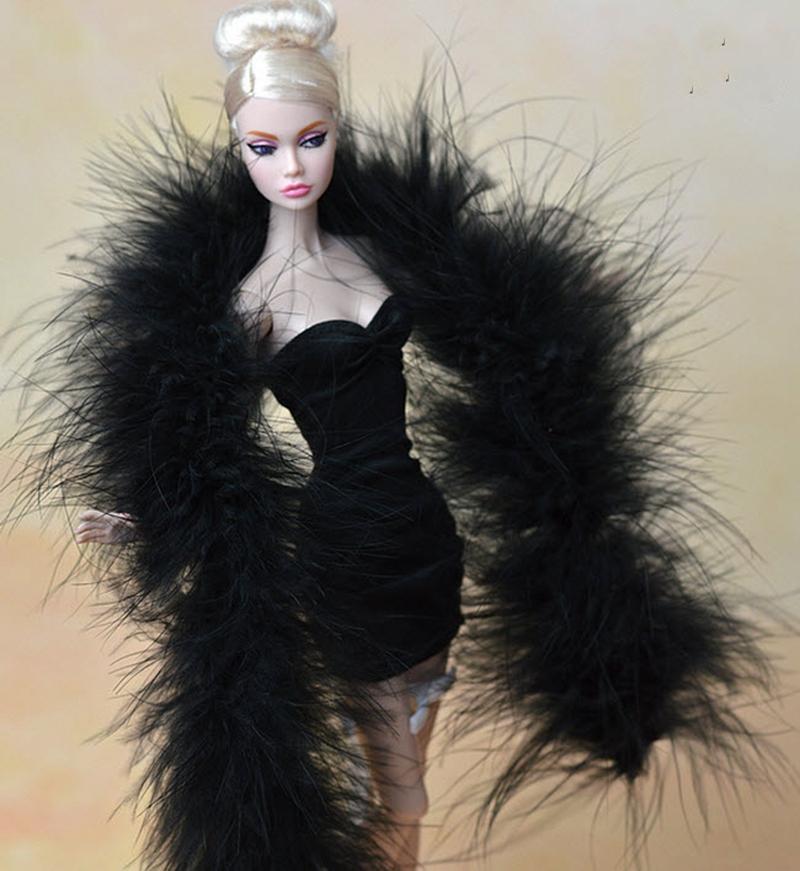 Chal de felpa largo negro de moda Pashmina para muñecas Barbie para Monster High Dolls para niñas regalo de alta calidad hecho a mano