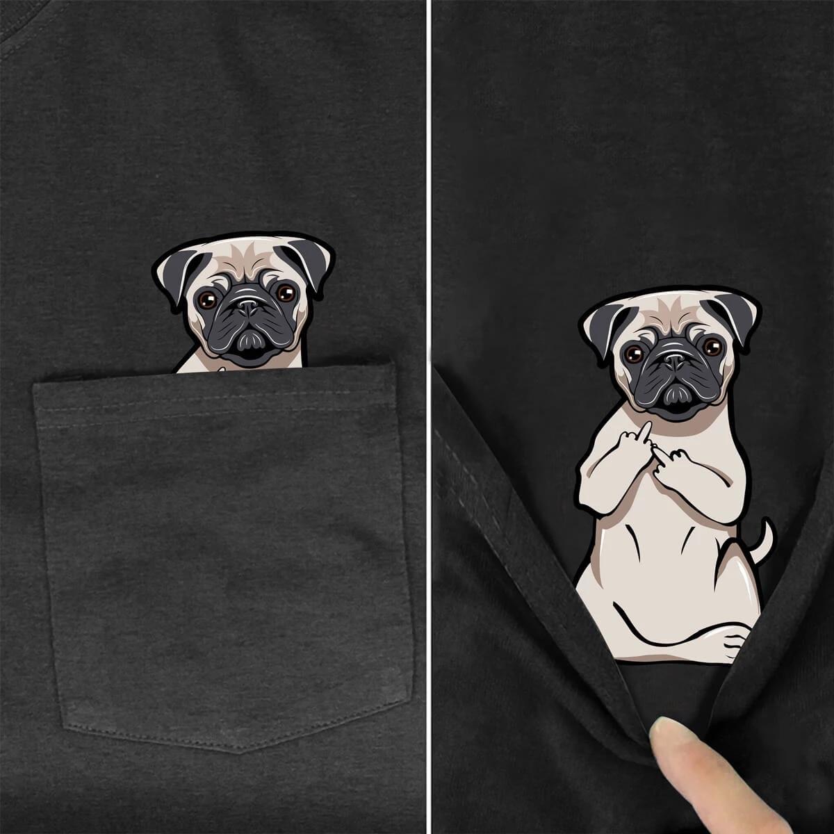 funny T Shirt Fashion Brand summer pocket dog printed t-shirt men's for women shirts Hip hop tops funny cotton tees