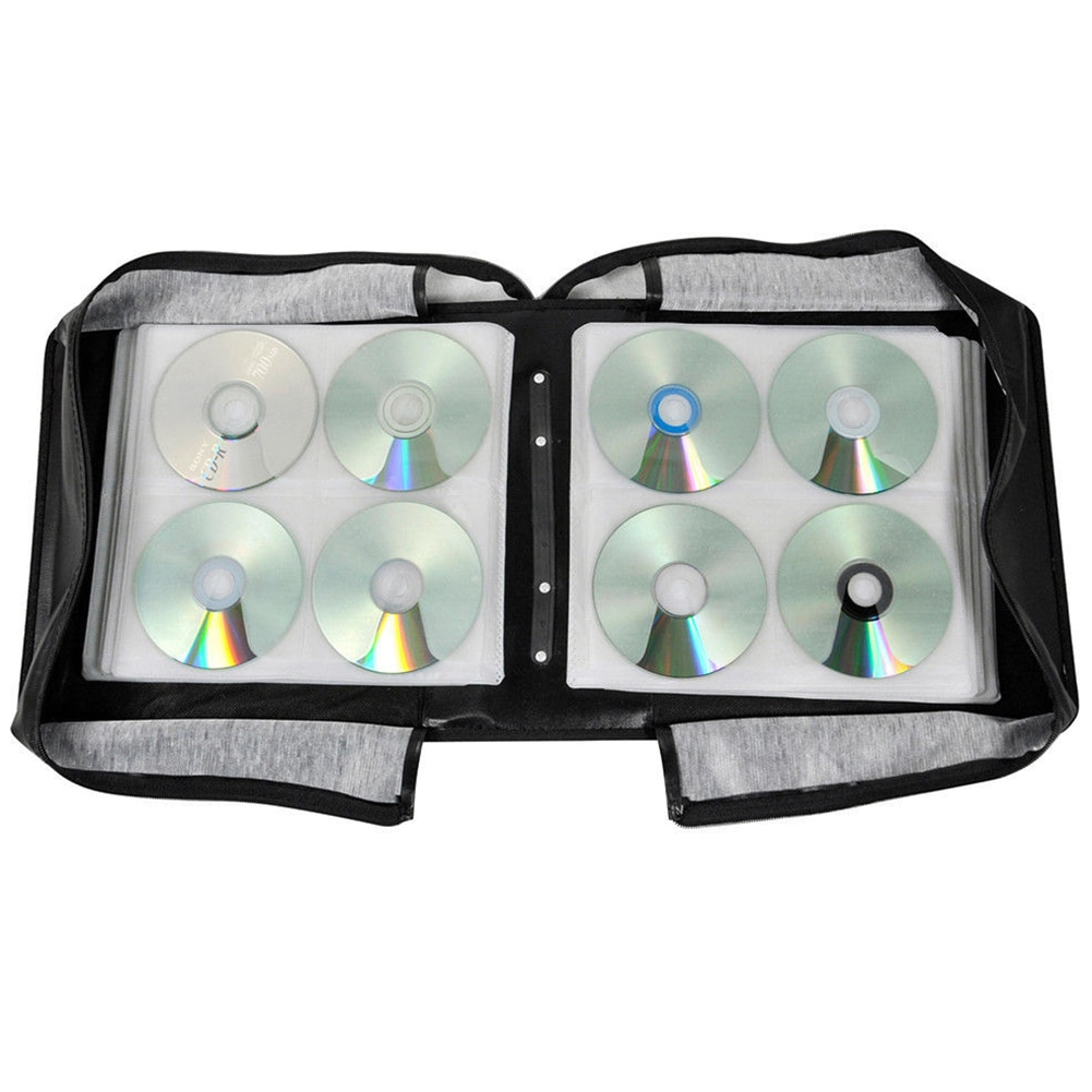 Cierre de cremallera estuche portátil duradero Almacenamiento de medios de gran capacidad CD bolsa encuadernador de DVD negro Oxford tela correa de mano sólida