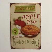 home made apple pie plaque vintage metal tin signs home bar pub garage decor plates man cave wall sticker 20x30cm tin sign
