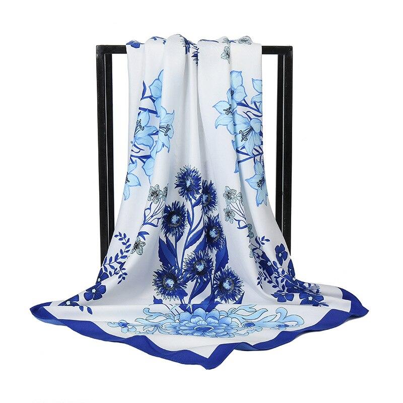 Шелковый шарф, модный женский фанатский квадратный шарф с цветочным принтом