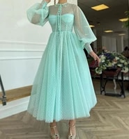 short party gowns 2020 mint green long lantern sleeve ankle length point net women formal dresses high fashion gorgeous for girl