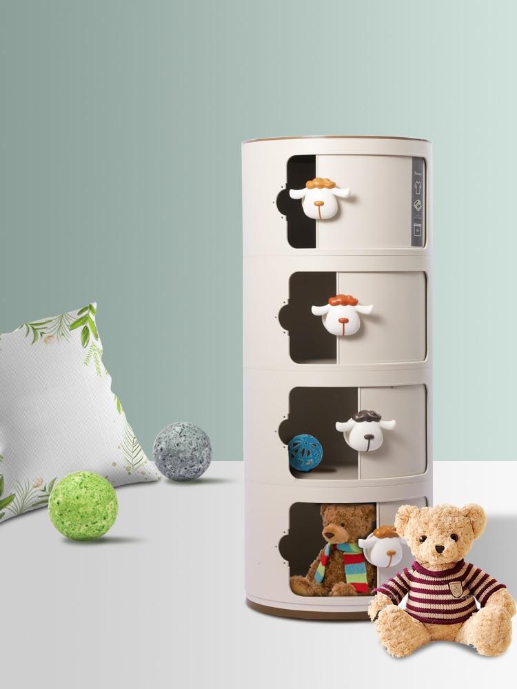 Ttshowtran بيريندين تخزين خزانة مستديرة تركيبة مجانية الراتنج خزانة الأطفال طفل لطيف السرير الجدول