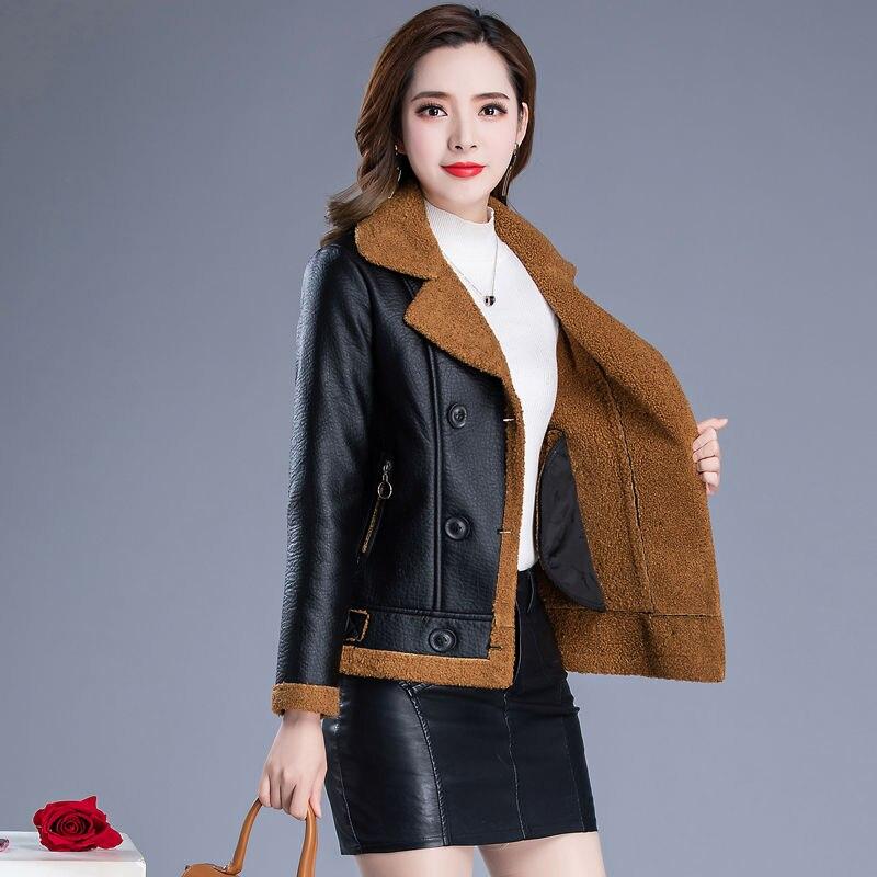Chaqueta de piel gruesa de terciopelo Plus, nueva chaqueta de cuero de invierno 2020 para mujer, abrigo de mujer, ropa femenina de cuero de sección corta