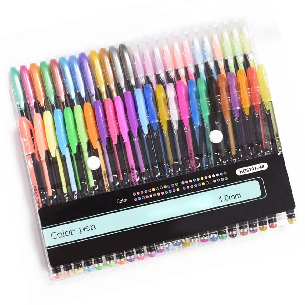 48 цветов гелевые ручки набор блестящие металлические художественные Маркеры Набор для взрослых раскрашивания детей эскизы журналы рисова...