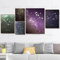 colorful pink purple beautiful starry sky constellation time frameless home wall painting canvas hd printing decoration poster