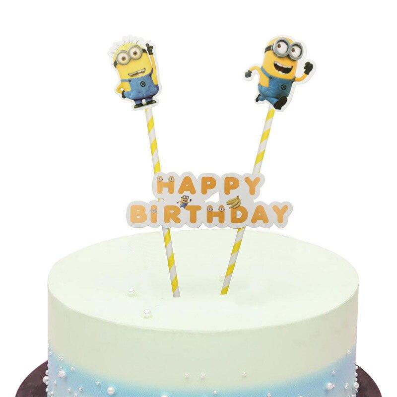 1 conjunto dos desenhos animados minions bolo topper chá de fraldas crianças aniversário decoração do casamento fontes de festa bolo bandeira desprezível me banana
