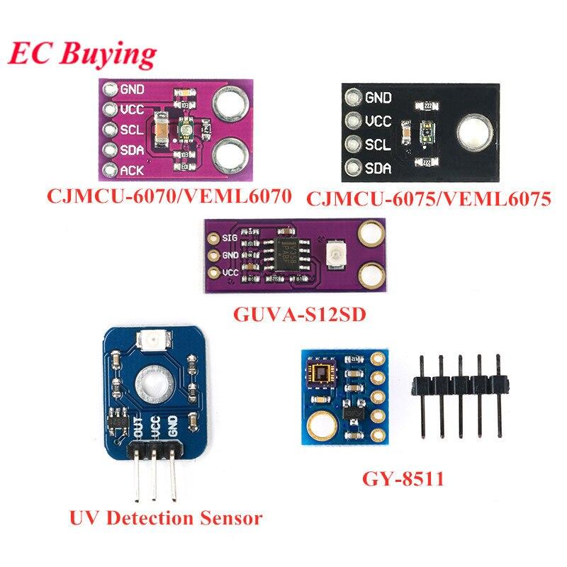 Módulo de Sensor de detección UV VEML6075 VEML6070 UVA UVB S12SD GY-8511 ML8511 Módulo de rayos ultravioleta Sensor de luz para Arduino
